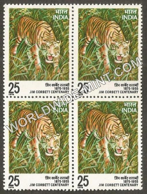 1976 Jim Corbett Centenary Block of 4 MNH
