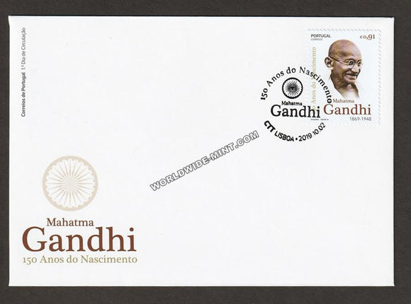 2019 Portugal Gandhi Single Stamp FDC