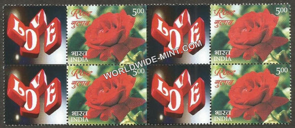 2017 India Rose Fragrance, My stamp Block of 4 Pair Type 2 . One & only Mystamp with Fragrance