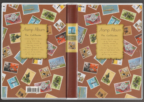 7168B Small Stamp Album Fixed-8 Sheets/16 Sides -5 strips – Brown Colour - Imported Taiwan Made- Chuyu Culture