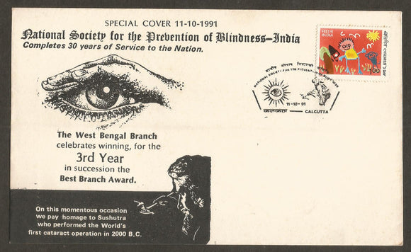 1991 National Society for the Prevention of Blindness  Special Cover #WB71