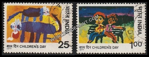 1977 Children's Day-Set of 2 Used Stamp