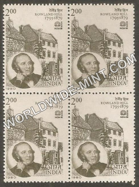 1980 INDIA - 80-Rowland Hill Block of 4 MNH