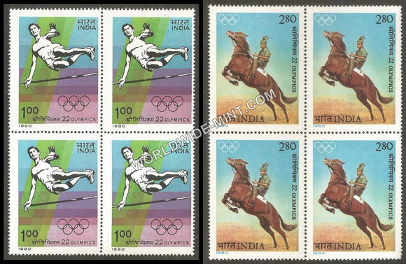 1980 22nd Olympics- Set of 2 Block of 4 MNH