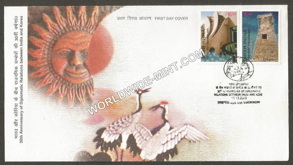 2003 India-Korea Joint Issue setenant FDC