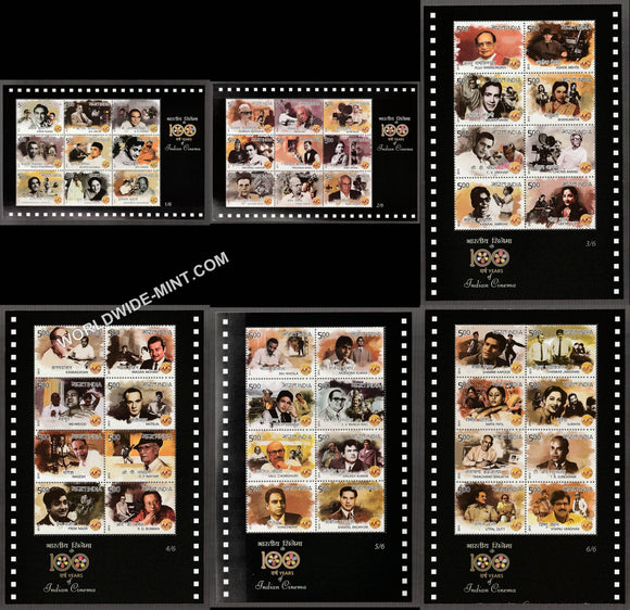 2013 INDIA 100 Years of Indian Cinema-Sheetlet Complete set of 6