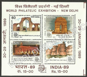 1987 India 89 World Philatelic Exhibition - Historic Monuments of Delhi Miniature Sheet