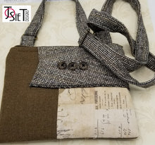 Load image into Gallery viewer, Crossbody bag, Crossbody Purse, Recycled Crossbody Purse, Handbag, Recycled wool, Recycled mens suit coat
