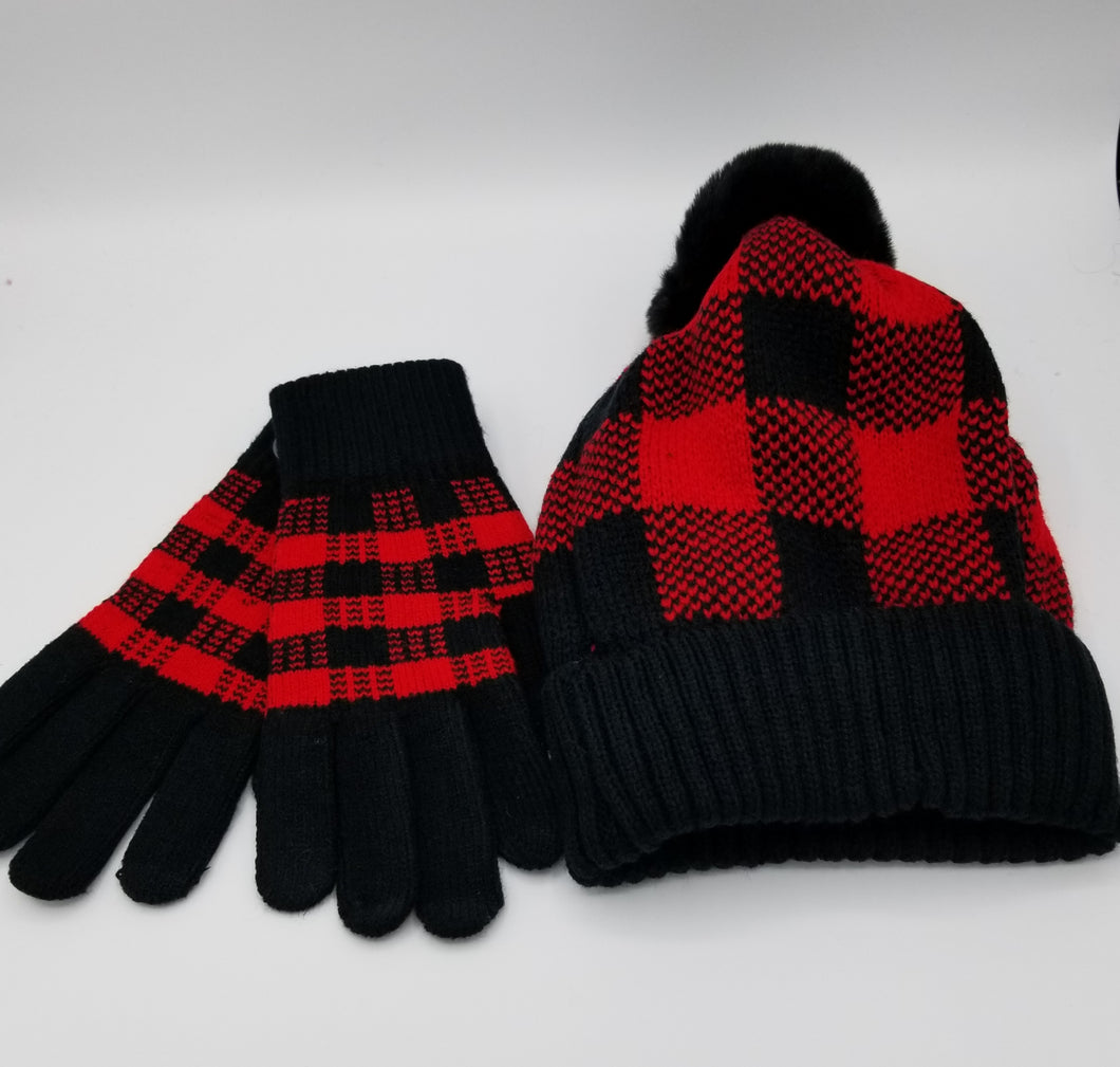 Red black plaid set