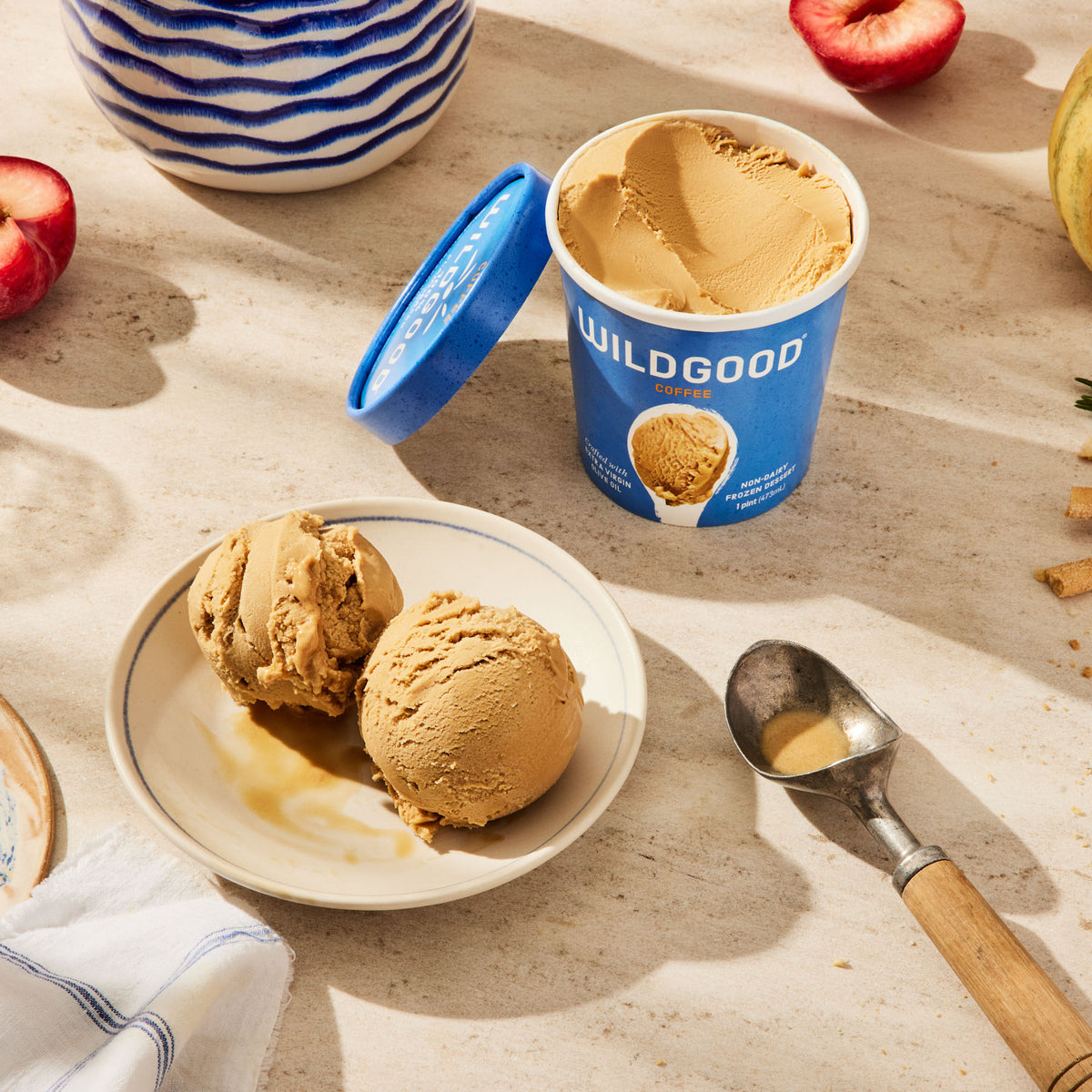 Wildgood plant-based ice cream made with extra virgin olive oil coffee