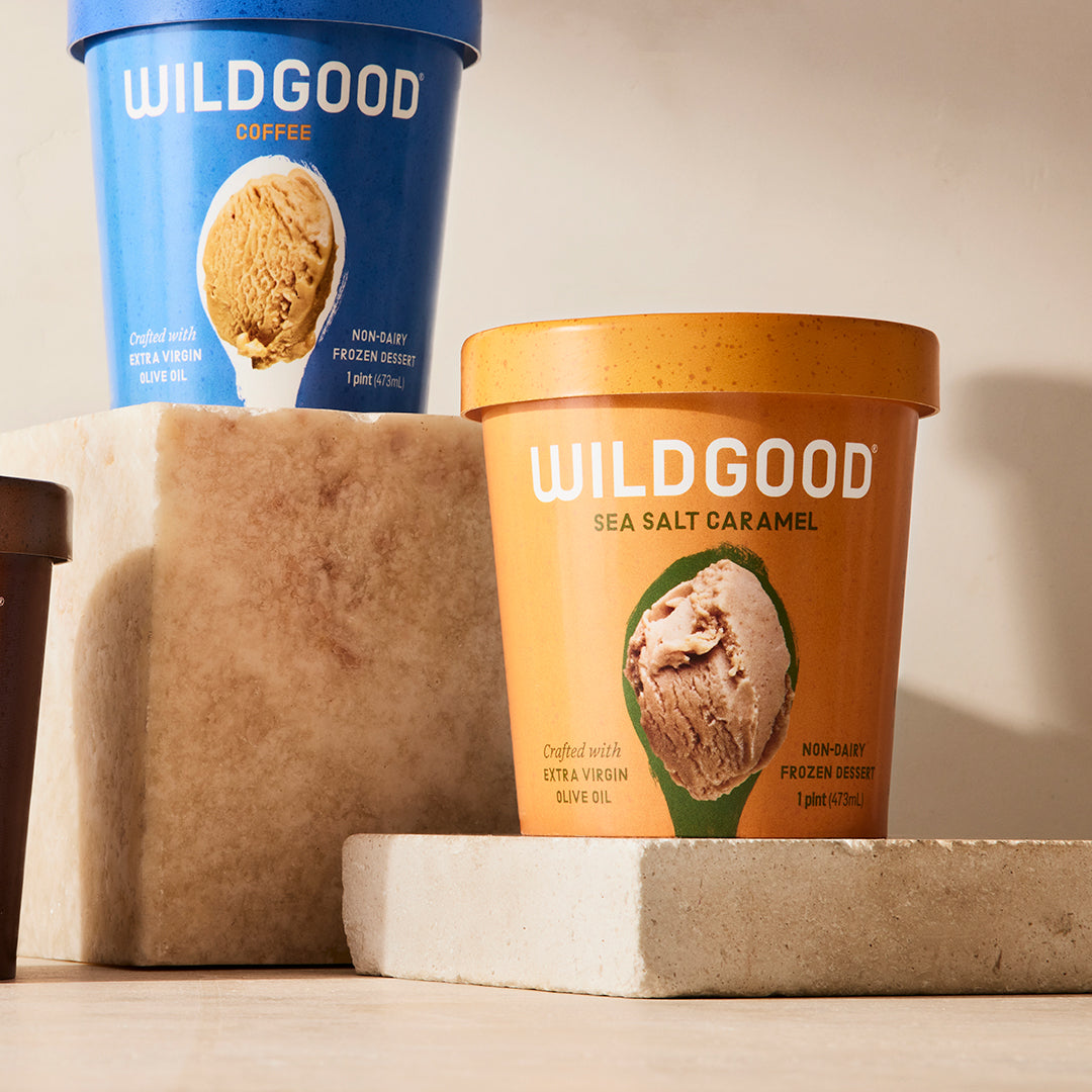 Wildgood plant-based ice cream made with extra virgin olive oil sea salt caramel