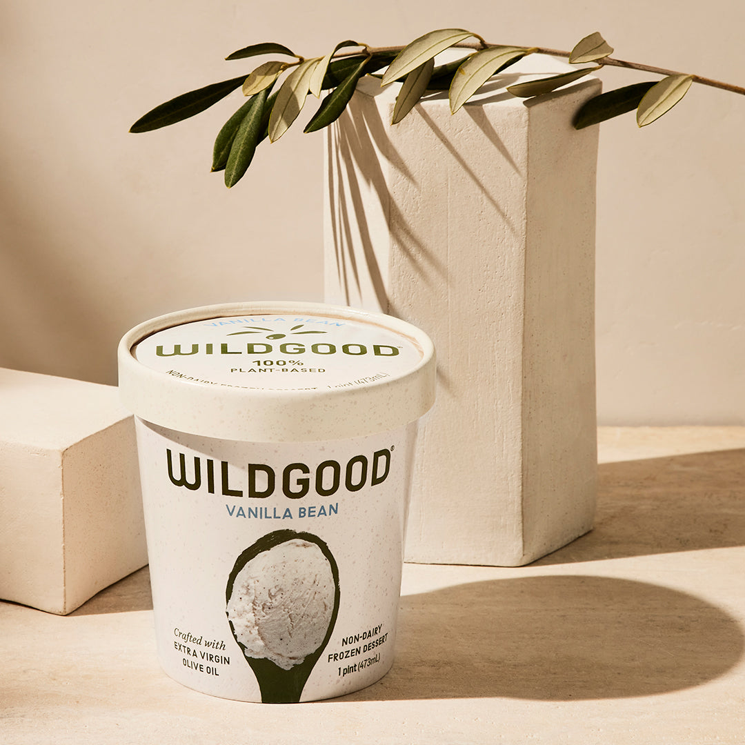 Wildgood plant-based ice cream made with extra virgin olive oil vanilla