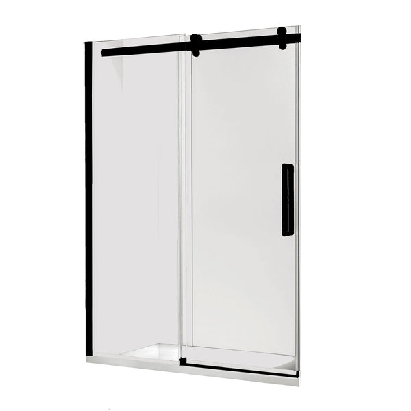 Load image into Gallery viewer, Euro Frameless Sliding Shower Screen Front Only 1470 Black