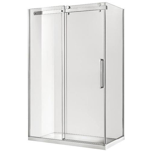 Euro Frameless Sliding Shower Screen Front & Return 1170 Silver