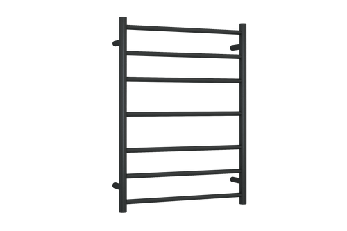 Round Heated Towel Ladder Matte Black