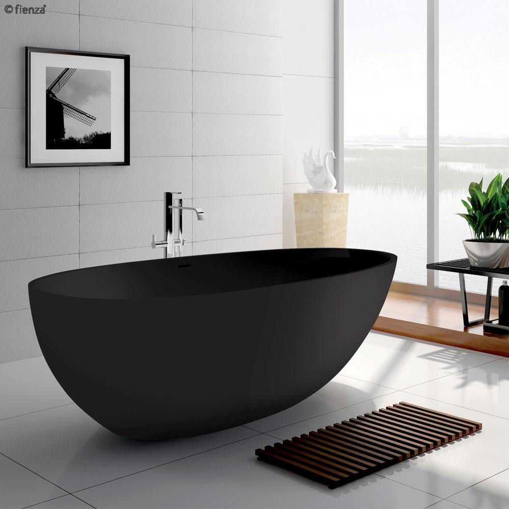 Bahama 1700 Matte Black Cast Stone Soild Surface Bath