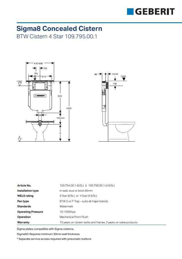 Rimless Wall Faced Pan, Cistern & Button Package