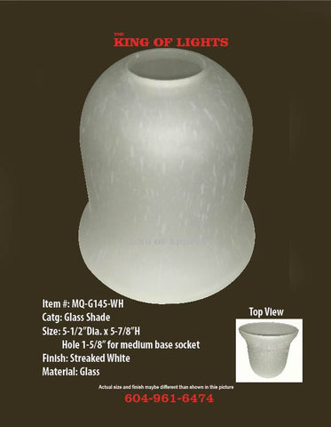 Streaked White Glass Shade #145