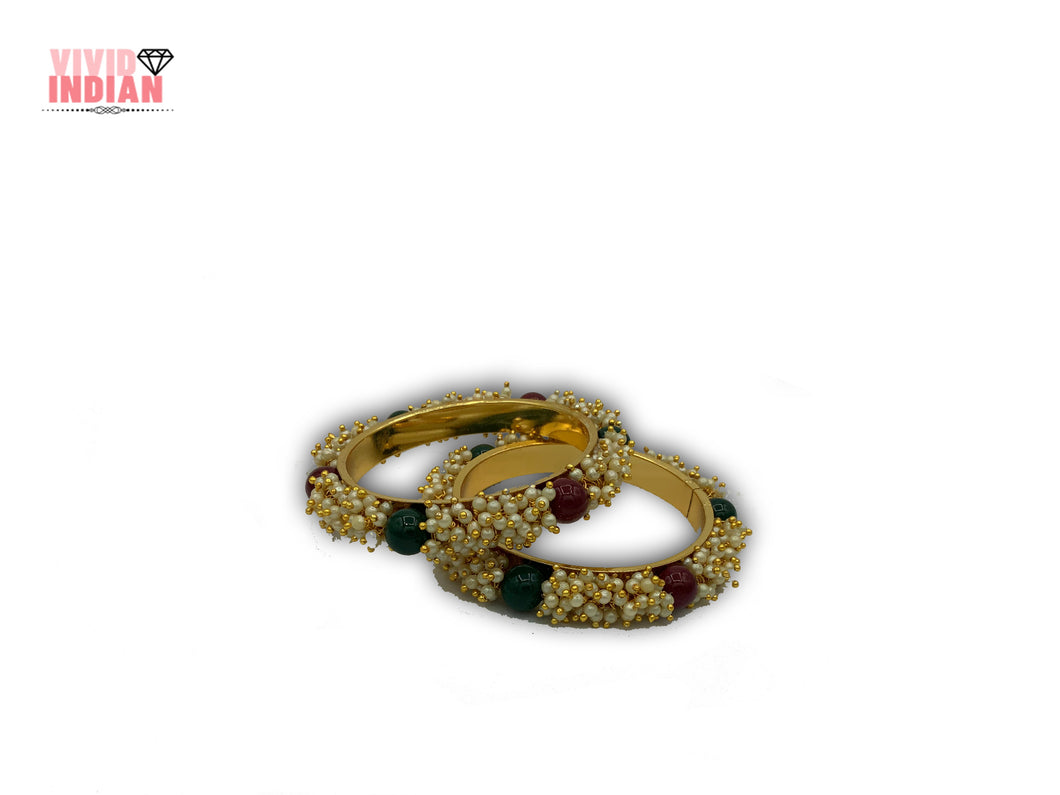 Heavily Beaded Red and Green Pearls Gold Plated Bangles