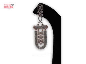 American Diamond Heavily Embellished Tassel Drop Earrings