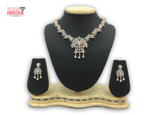 Load image into Gallery viewer, American Diamond Teardrop Shaped Adorned With Leaf Design Necklace Set