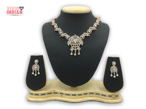 American Diamond Teardrop Shaped Adorned With Leaf Design Necklace Set