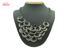 Load image into Gallery viewer, Black Rings Stacked Geometrical Necklace
