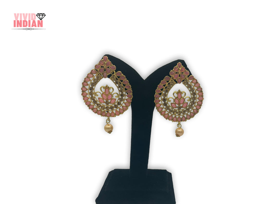 Cut-Out Detailing Filigree Pattern Pink Earrings