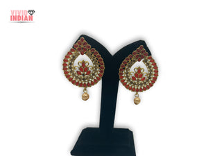 Cut-Out Detailing Filigree Pattern Red Earrings