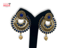 Load image into Gallery viewer, Dark Blue Gems Traditional  Drop Layered Earrings
