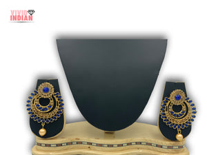 Dark Blue Gems Traditional  Drop Layered Earrings