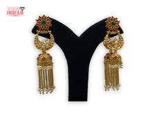 Load image into Gallery viewer, Double Jhumka Red Sunflower Dangling Earrings