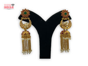 Double Jhumka Red Sunflower Dangling Earrings