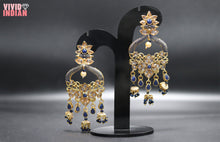 Load image into Gallery viewer, Egyptian Blue Stone Diamond Studded Gold Earrings