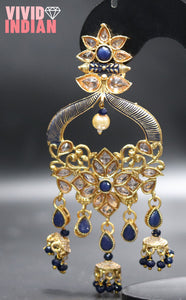 Egyptian Blue Stone Diamond Studded Gold Earrings