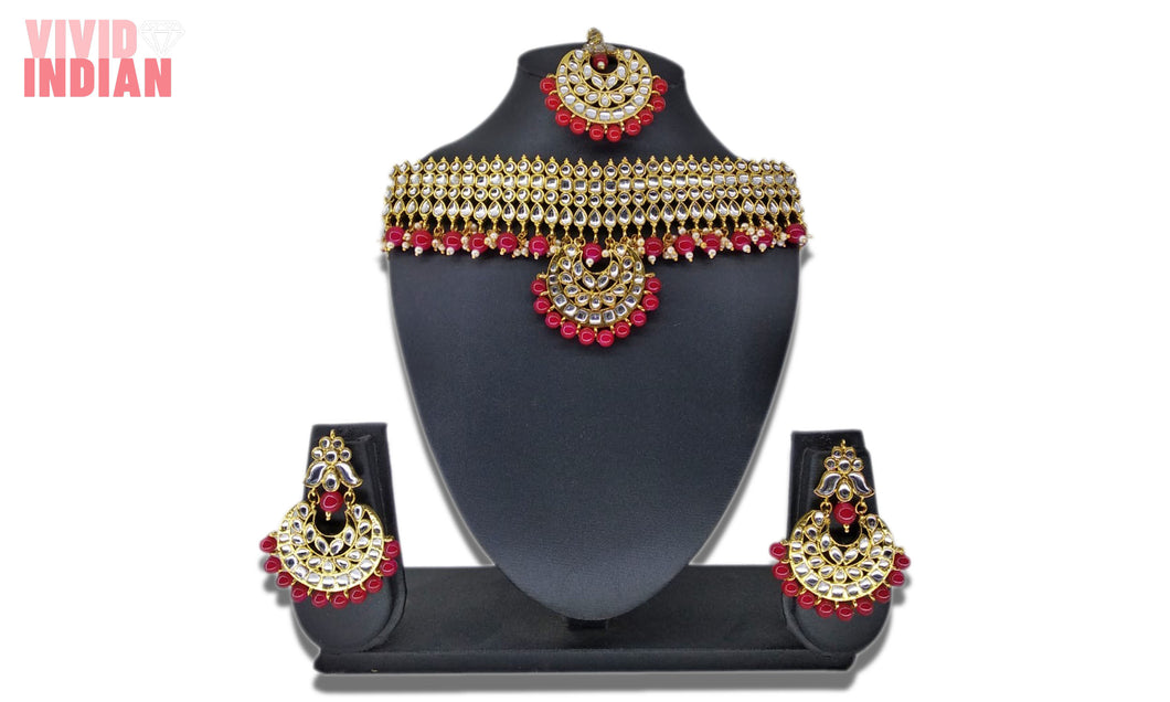 Ethnic Jaali Work Adorned Red Beaded Necklace Set