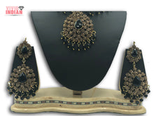 Load image into Gallery viewer, Ethnic Style Heavily Embellished Black Choker Necklace Set