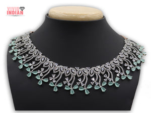 Floral Inspired Cluster American Diamond Motif Necklace Set