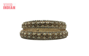 Floral Inspired Faux Pearl and Gem Studded Bangles