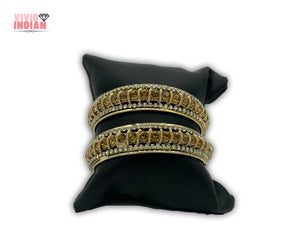 Gemstones Embellished Gold Plated Motifs Bangles