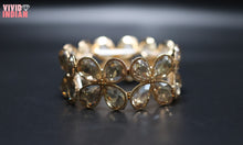 Load image into Gallery viewer, Gold Gems Embellished Floral Bracelet