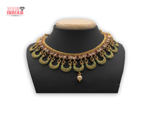 Golden Reprise Multicolour Necklace Set Adorned With Pearls