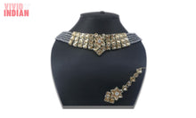 Load image into Gallery viewer, Grey Beaded Choker Style Necklace Set