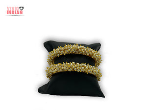 Heavily Beaded Gold Plated Bangles