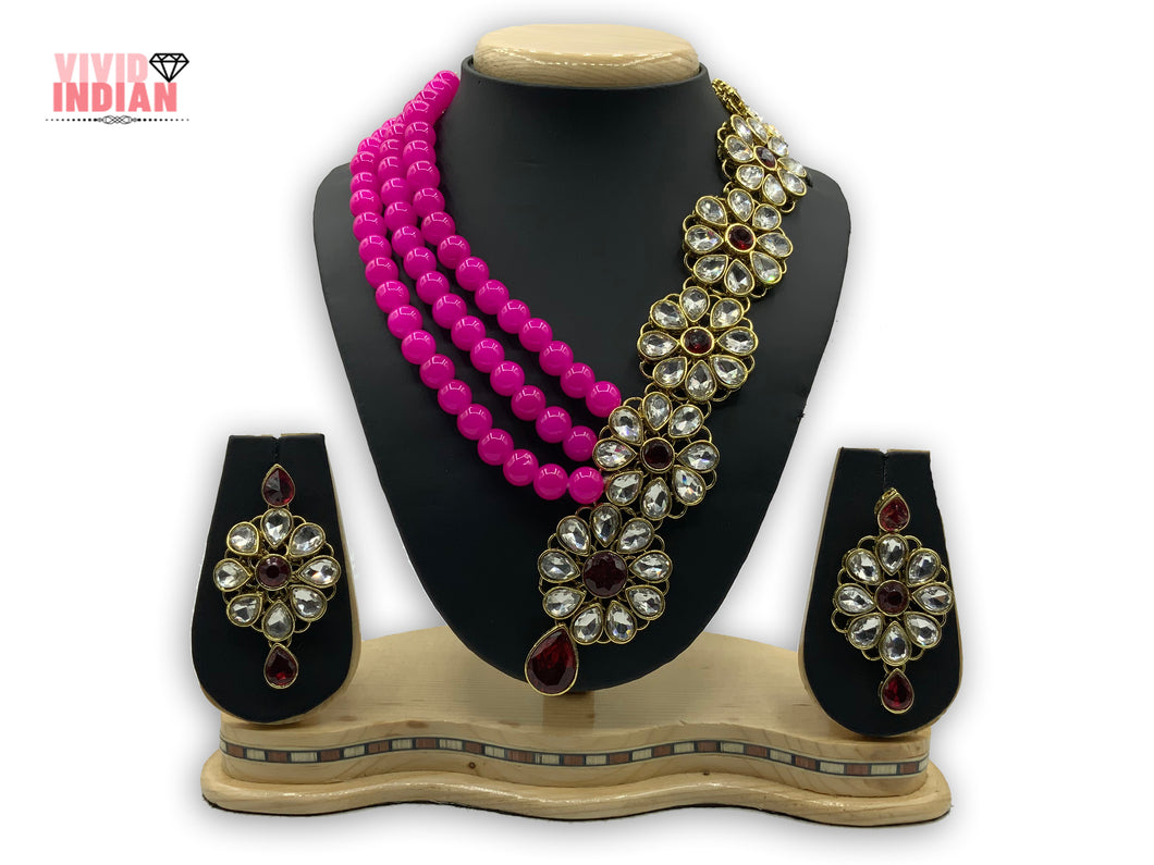 Layered Pink Floral Necklace Set