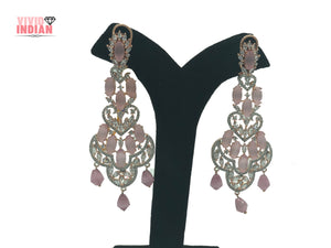 Pink Cocktail Danglers Layered Gold Plated Drop Earrings