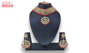 Red Pearls And Gems Embellished Necklace Set