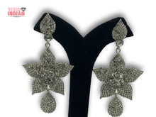 Load image into Gallery viewer, Silver Plated Heavily Embellished Flower Shaped Drop Earrings