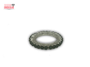 Sparkling Gem Studded Grey Pearl Bangle Bracelet