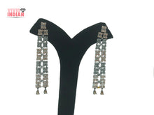 Load image into Gallery viewer, Square Cut American Diamond Studded Dangling Earrings